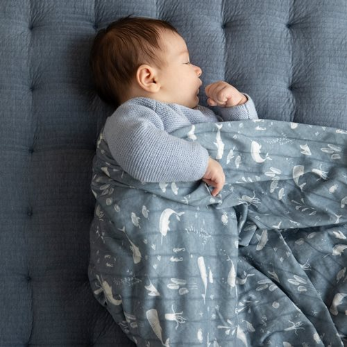 Musselintuch Swaddle 120 x 120 Ocean Blue