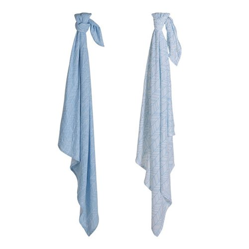 Picture of Swaddle 70 x 70 - Blue Leaves (set of 2 designs)
