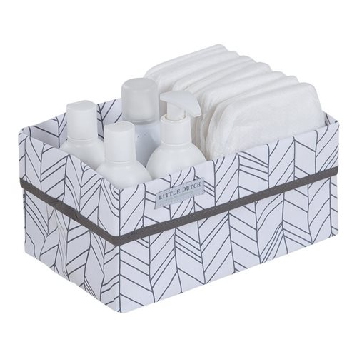 Picture of Storage basket, large - White Leaves