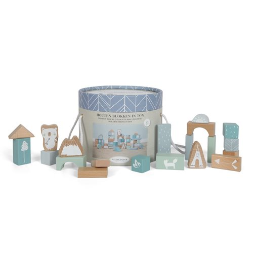 Holzbausteine in Box blau