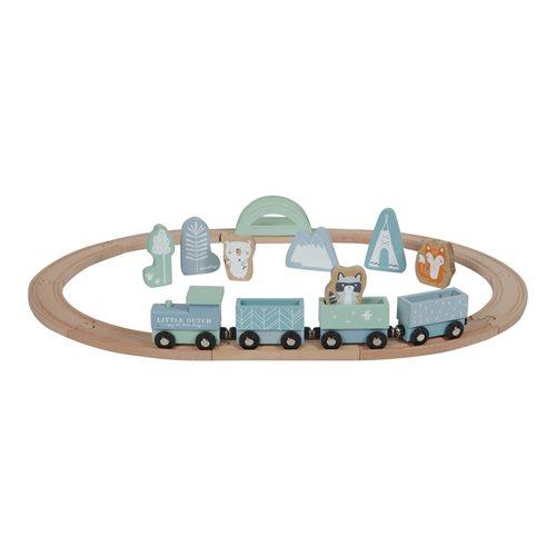 Holzeisenbahn mit Schienen blau