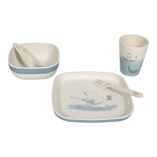 Picture of Bamboo kids tableware set blue