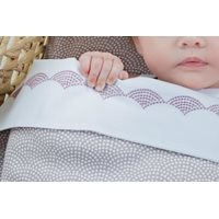 Picture of Cot sheet Mauve Waves embroidered