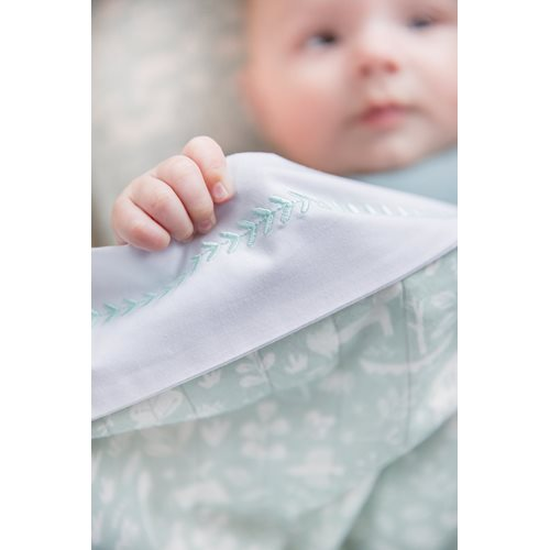 Picture of Cot sheet Branch Mint embroidered