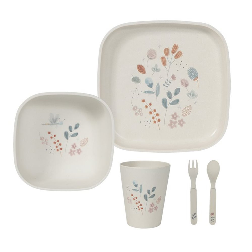 Picture of Bamboo kids tableware set pink