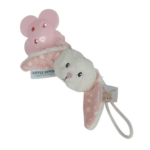 Attache-sucette lapin rose