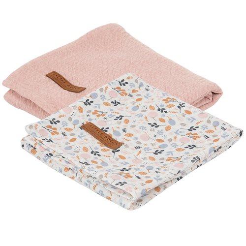 Lange bébé lot de 2 70 x 70 Pure Pink/Spring Flowers