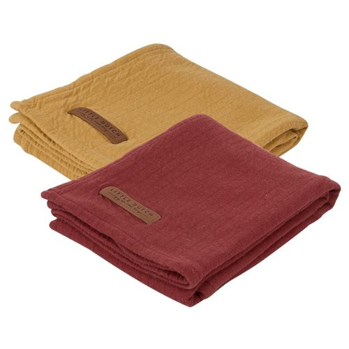 Picture of Muslin cloths 70 x 70 Pure Indian Red/Ochre