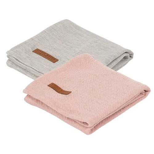 Lange bébé lot de 2 70 x 70 Pure Pink/grey