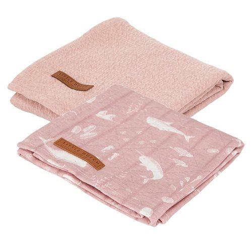 Afbeelding van Swaddle doeken 70 x 70 Ocean Pink / Pure Pink