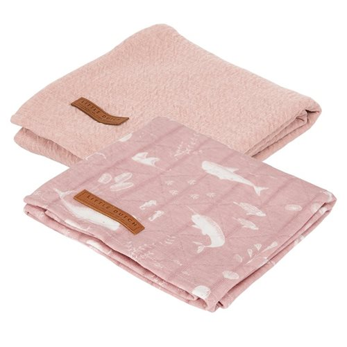 Musselintuch Swaddles 70 x 70 Ocean Pink / Pure Pink