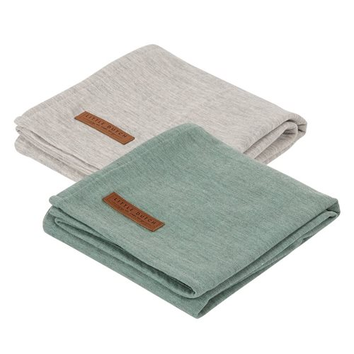 Lange bébé lot de 2 70 x 70 Pure Mint/grey