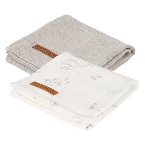Lange bébé lot de 2 70 x 70 Ocean White/Pure Grey