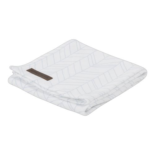 Maxi-lange swaddle 120 x 120 White/Blue Leaves