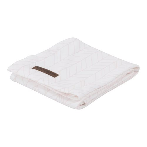 Afbeelding van Swaddle doek 120 x 120 White/Peach Leaves