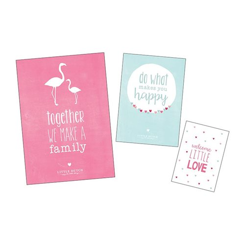 Picture of Poster and cards pink, set of 3