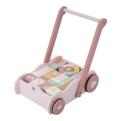 Picture of Wooden block trolley pink