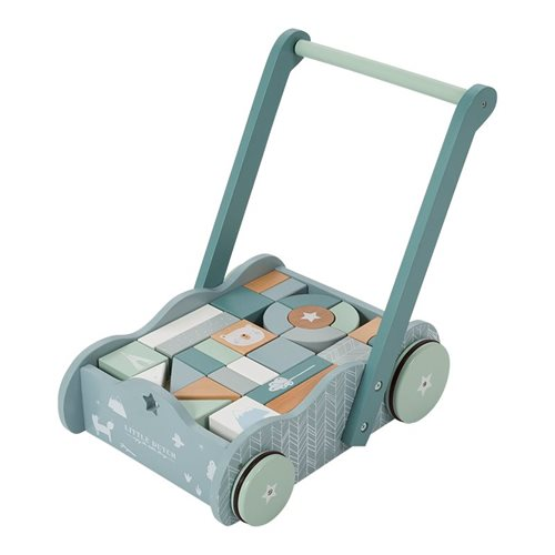 Picture of Wooden block trolley blue