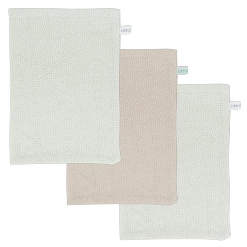 Picture of Washcloths set mint & beige waves