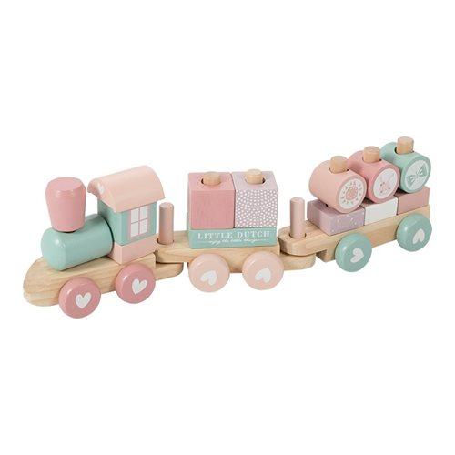 Holz-Eisenbahn mit Steck-Formen rosa