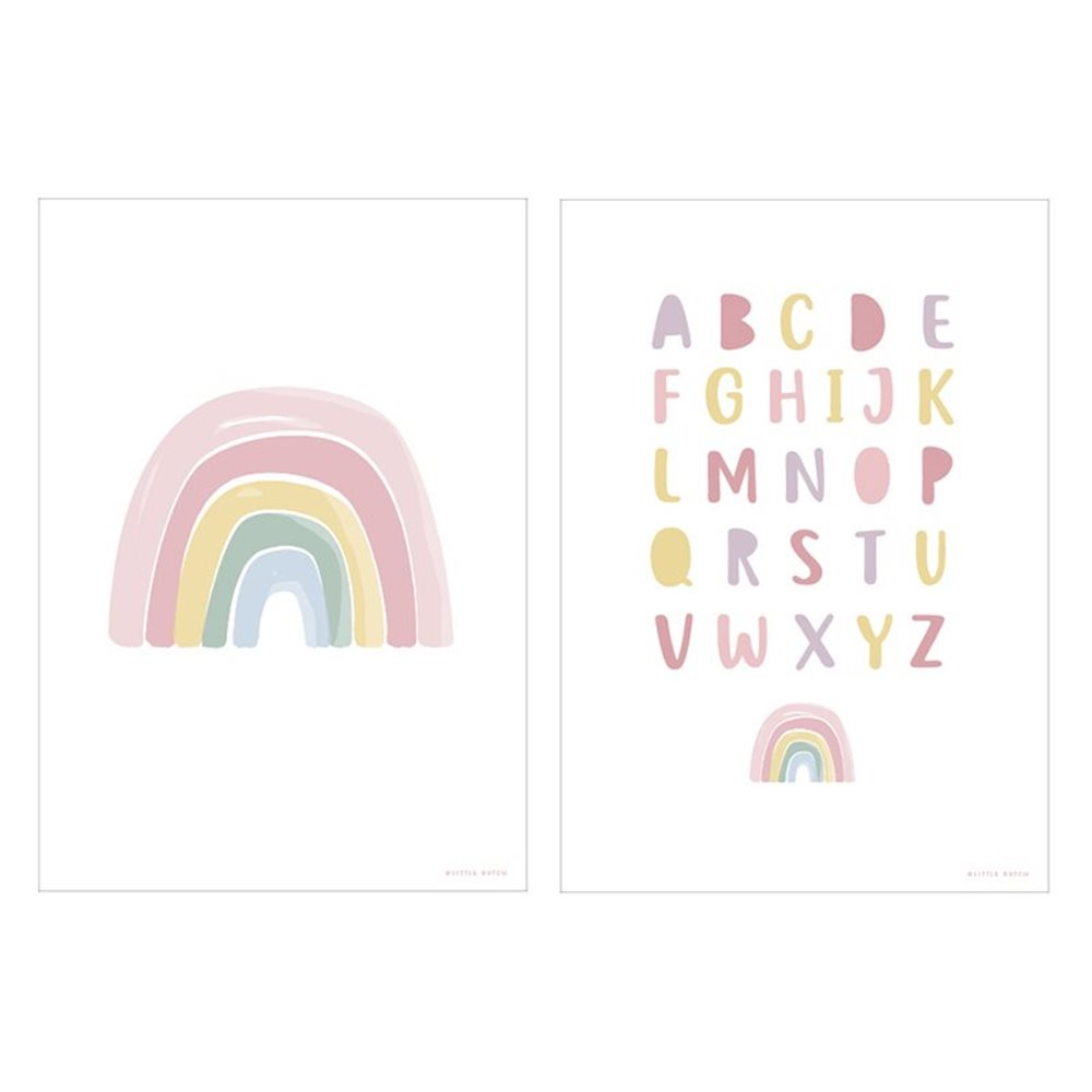 Afbeelding van Poster Regenboog Alfabet roze