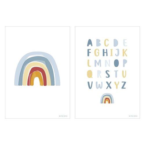 Poster Arc-en-ciel & Alphabet bleu