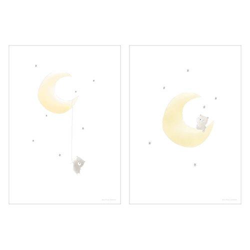 Poster Bär auf dem Mond