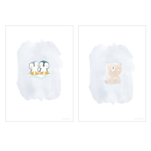 Picture of Poster Bear and twin Penguins
