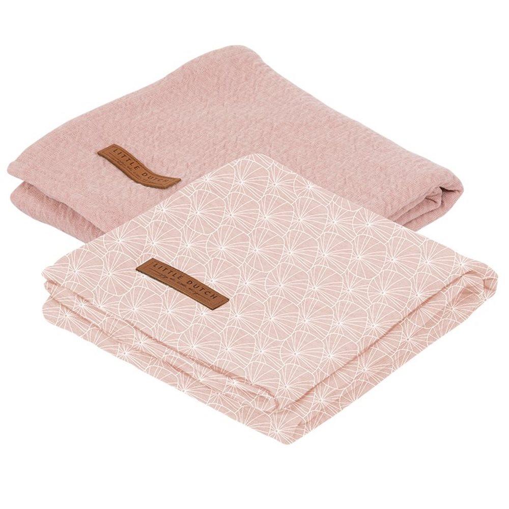 Lange bébé lot de 2 70 x 70 Lily Leaves Pink/Pure Pink