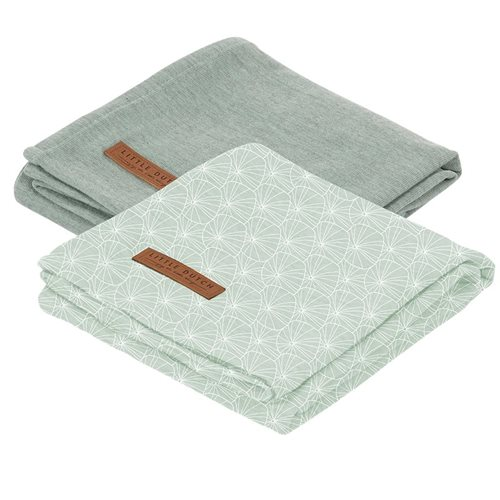 Picture of Muslin cloths 70 x 70 Lily Leaves Mint/Pure Mint