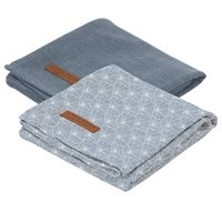 Picture of Muslin cloths 70 x 70 Lily Leaves Blue/Pure Blue