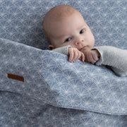 Picture of Fitted cot sheet Lily Leaves Blue