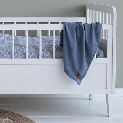 Afbeelding van Swaddle doeken 70 x 70 Lily Leaves Blue / Pure Blue