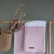 Drap de berceau Lily Leaves Pink