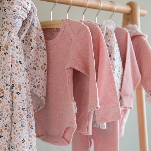 Body langen Ärmeln 50/56 - Pink Melange