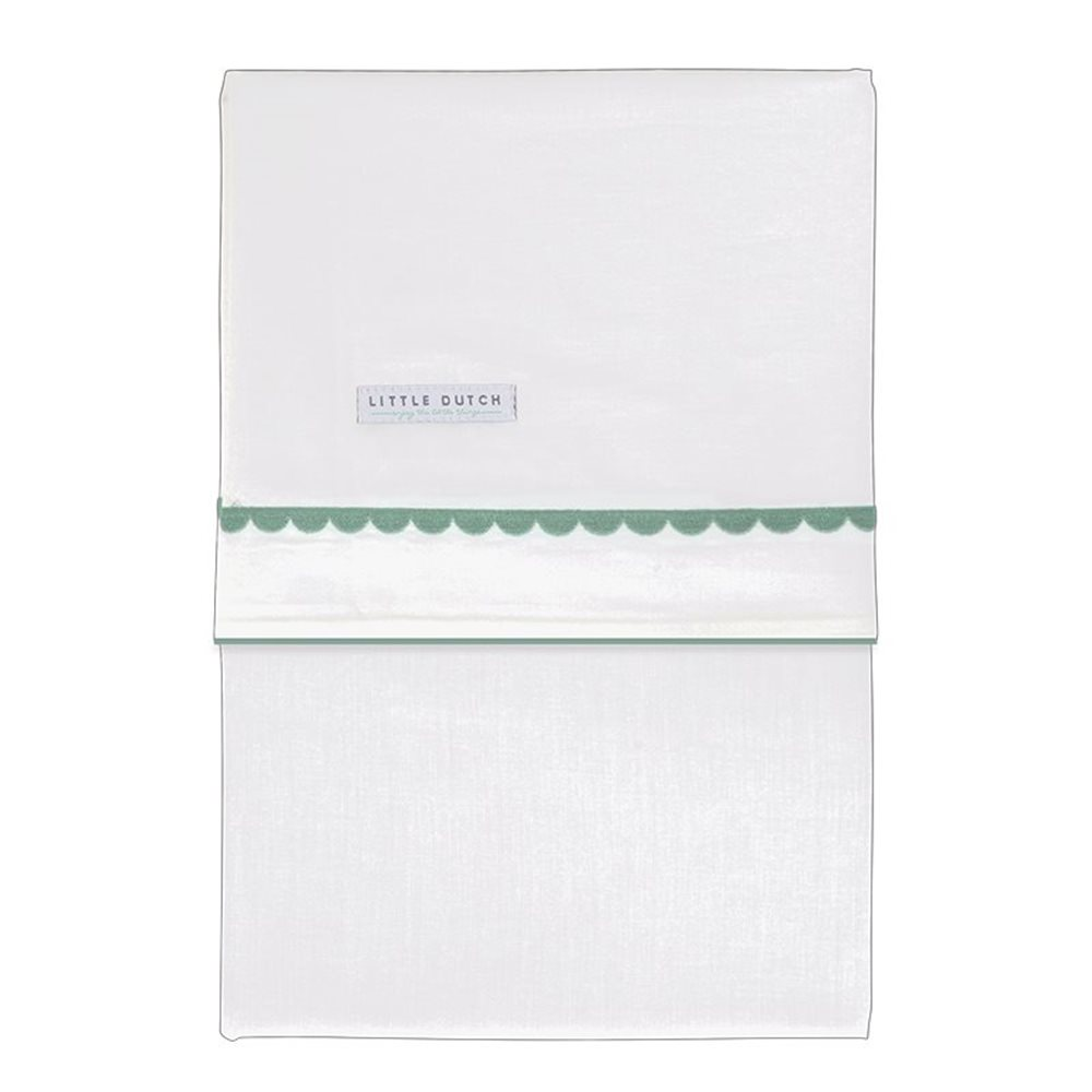 Picture of Cot sheet Mint Rounded embroidered