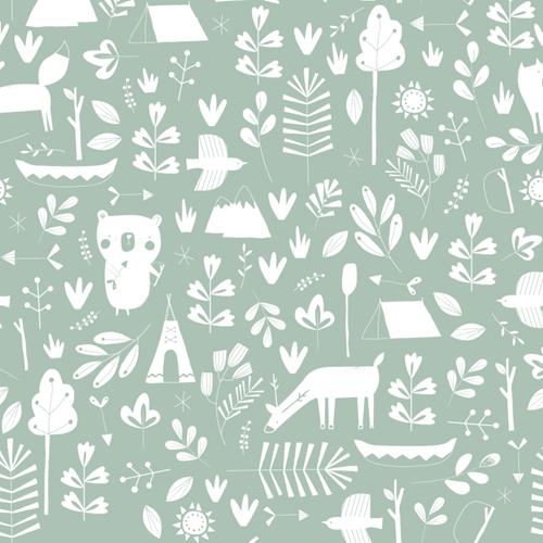 Afbeelding van Behangstaal vliesbehang - Adventure Mint
