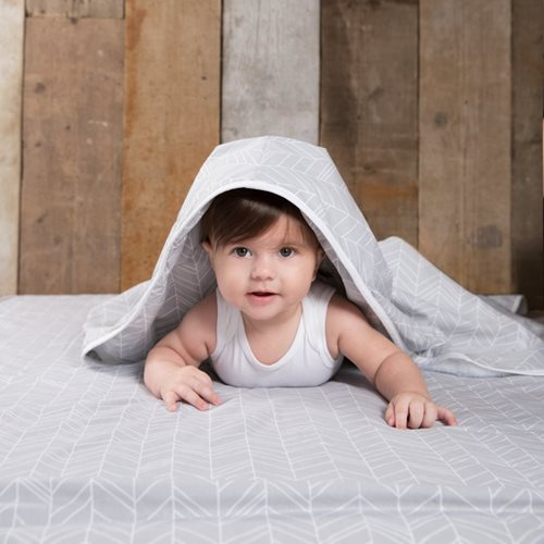 Picture of Single fitted sheet Grey Leaves