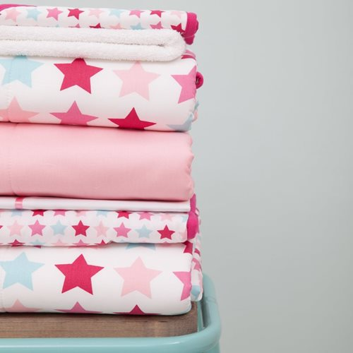 Kinderbettdecke Mixed Stars Pink