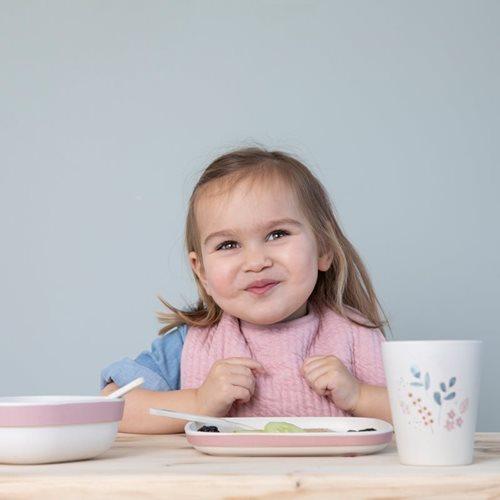Coffret repas en bambou pour enfants rose