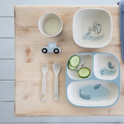 Assiette bambou 3 compartiments bleue