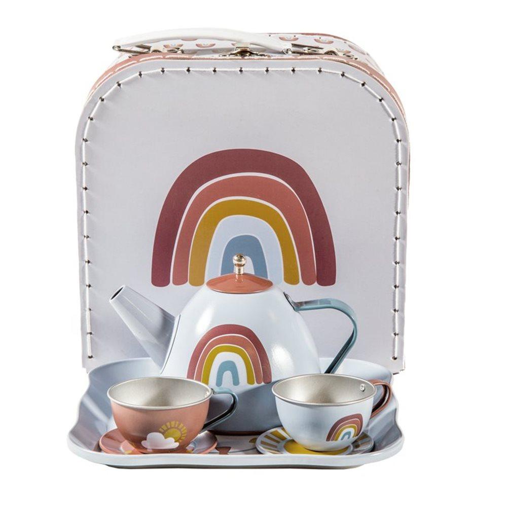 Picture of Tea set in basket Rainbow