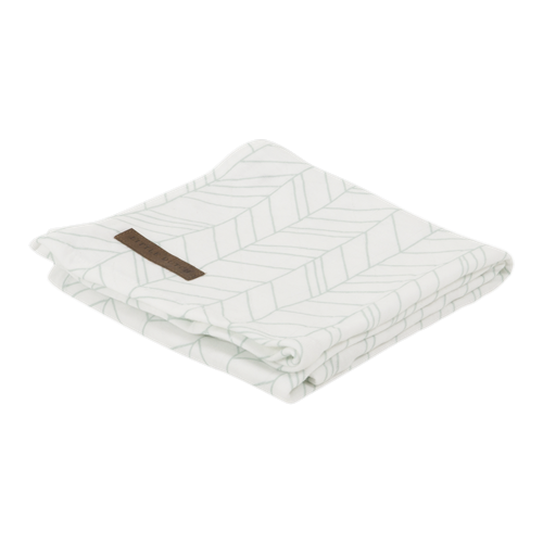 Picture of Swaddle 120 x 120 White/Mint Leaves