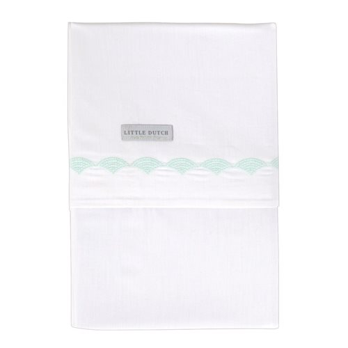 Picture of Cot sheet Mint Waves embroidered