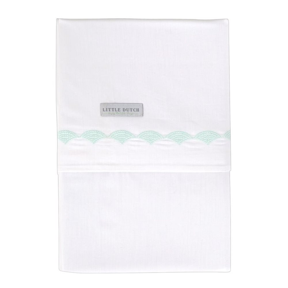 Drap de berceau Mint Waves brodé