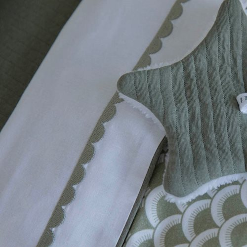 Picture of Cot sheet Olive Rounded embroidered