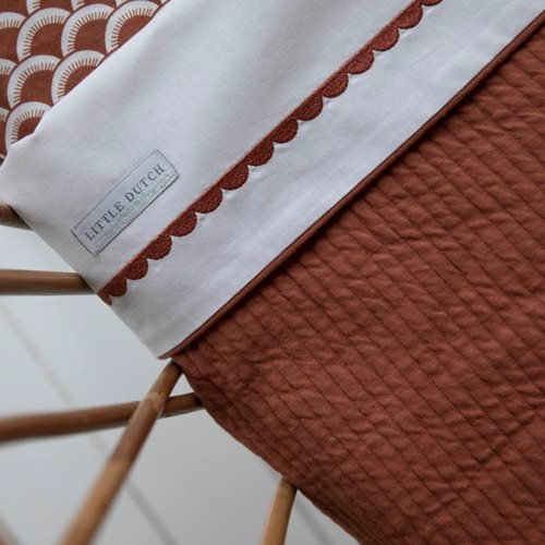 Picture of Cot sheet rust Rounded embroidered