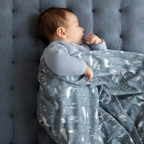 Lange bébé lot de 2 70 x 70 Ocean Blue/Pure Blue
