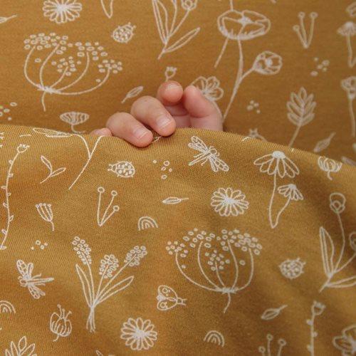 Drap-housse lit bébé Wild Flowers Ochre