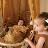 Picture of Fitted bassinet sheet Wild Flowers Ochre